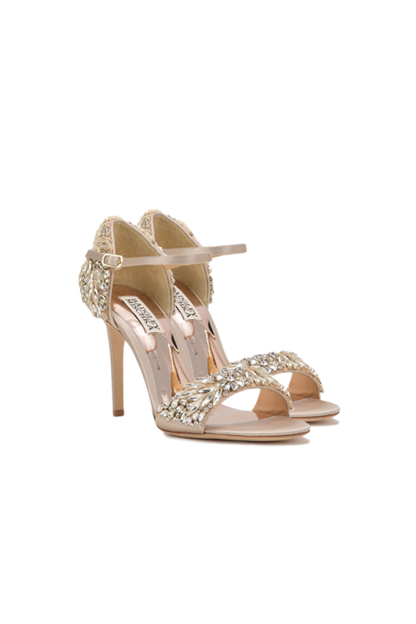 [SELL][TAMPA EMBELLISHED HEEL EVENING SHOE-Nude Satin]by BADGLEY MISCHKA